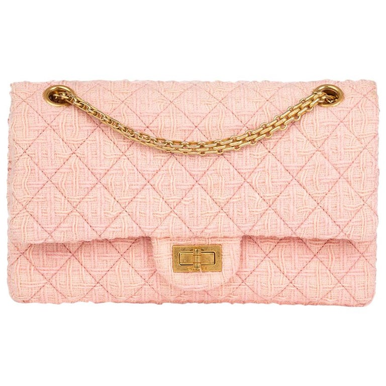 2017 Chanel Pink Quilted Tweed 2.55 Reissue 225 Double Flap Bag