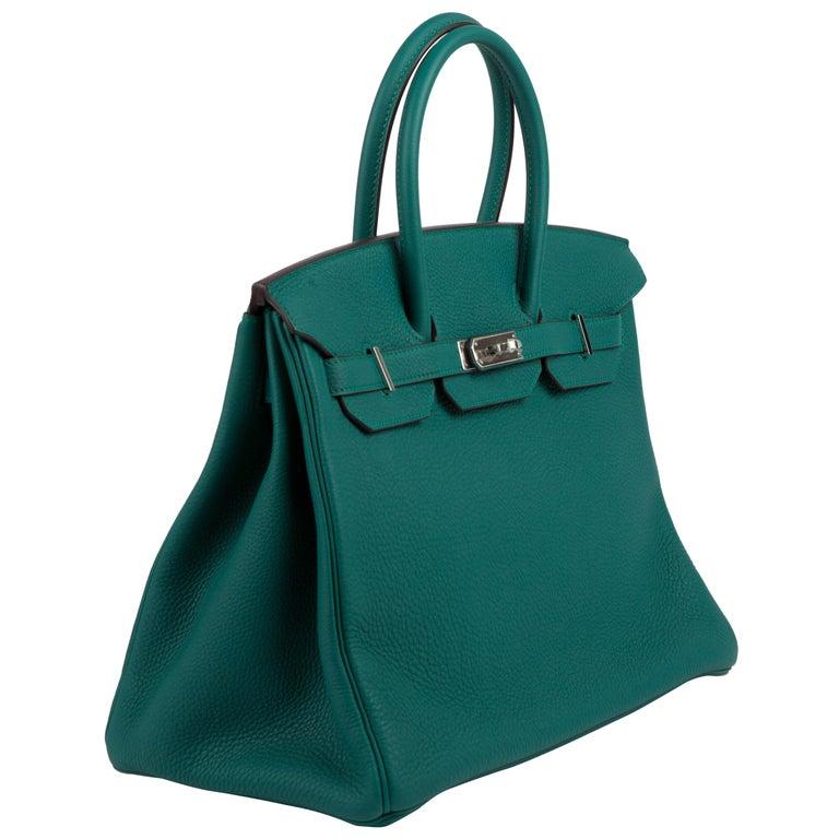 Hermes Malachite Togo Birkin 35cm Bag