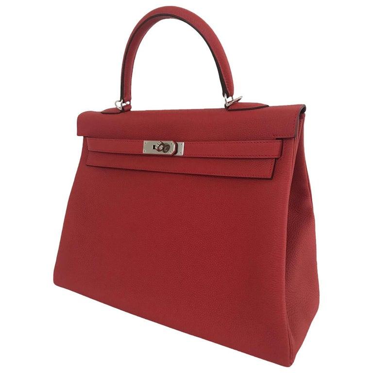 Hermes Geranium Togo Kelly 35cm Bag
