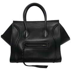 Celine Leather Phantom Medium Black Satchel Tote Handbag