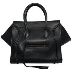 Celine Leather Phantom Medium in Black Satchel Tote Handbag