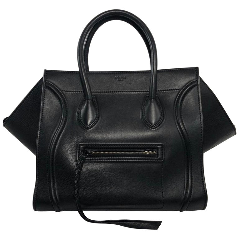 Celine Leather Phantom Medium Black Satchel Tote Handbag