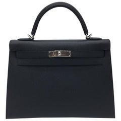 Hermes Black Epsom Kelly 32cm Bag