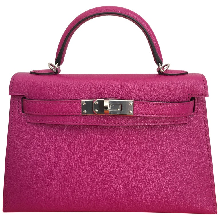 Hermes Rose Pourpre 20cm Mini Kelly Bag