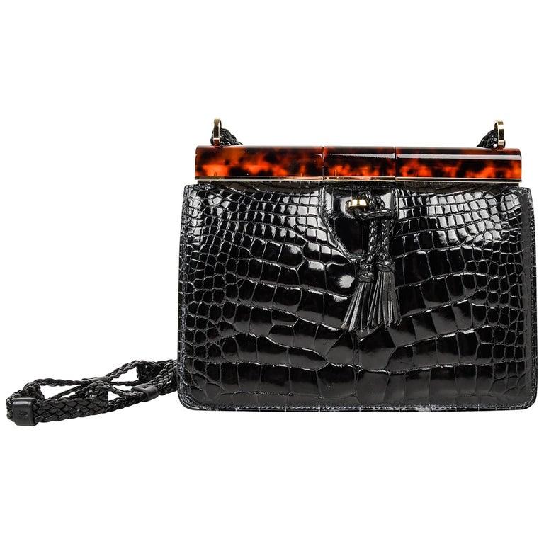 c05cdf5c2df658 Tom Ford Bag Black Crocodile Tortoise Frame One of Two Created For Sale