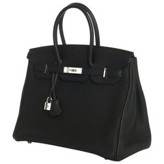 As New Hermes 35cm Black Fjord Leather Birkin with Silver Palladium Hardware