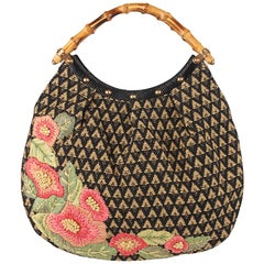 Gucci Limited Edition Raffia Flowers Bamboo Handle Canvas Hobo Bag