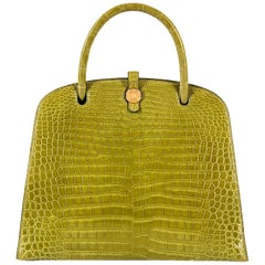 Hermes Crocodile Sac Dalvy Vert Chartreuse with Gold 30cm Bag