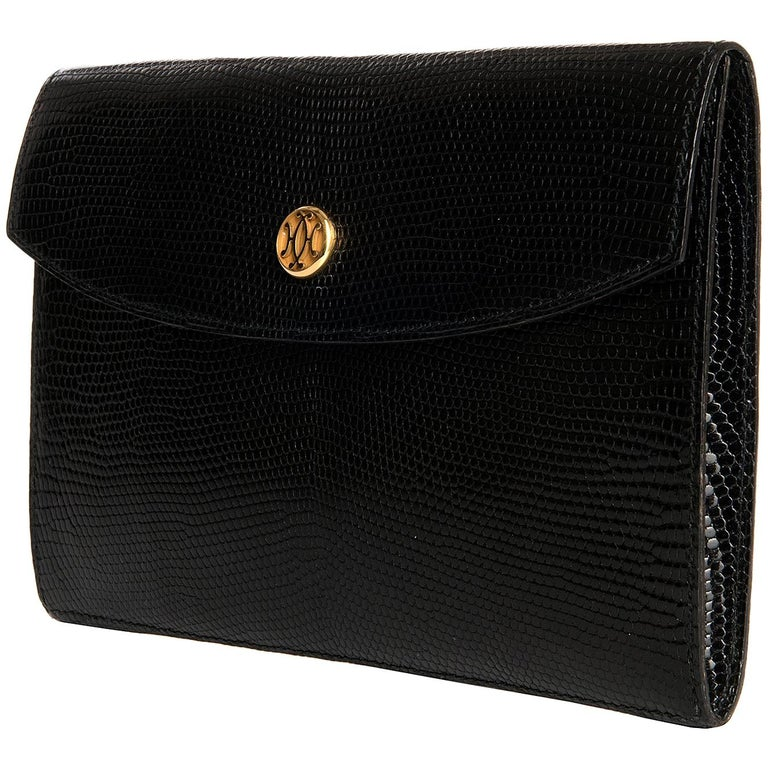 Hermes Vintage Black Lizard Clutch bag with Gold Clasp
