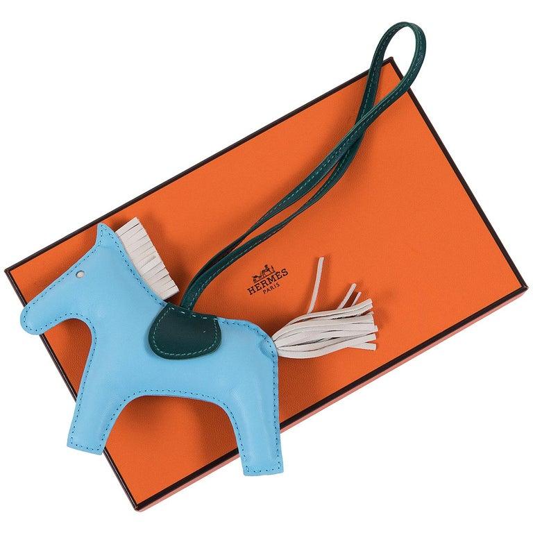 daae64e9f71 Hermes Rodeo Horse Tricolour 12cm MM Lamb Milo Leather Bag Charm For Sale