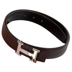"Hermes Reversible Belt with Palladium Silver Hermes ""H"" Buckle"