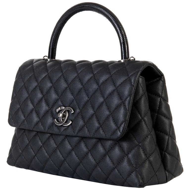 9b1c1c031c60 Chanel Maxi Quilted Caviar and Lizard 30cm Kelly Bag with Silver Hardware  For Sale