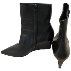 Gorgeous Balenciaga Black Leather Wedge Booties 41