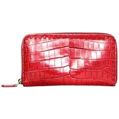 Bottega Veneta China Red Crocodile Zip Around Wallet rt. $2,900