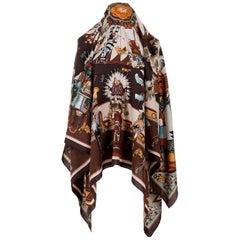 A Fabulous Vintage Hermes Silk & Cashmere Shawl - 'Kachinas' by Kermit Oliver
