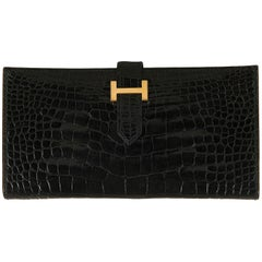 "Hermes Vintage Shiny Black  Crocodile ""H"" Bearn Wallet"