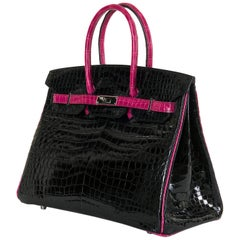 Hermes Limited Edition 35cm Shiny Black Crocodile Birkin Bag