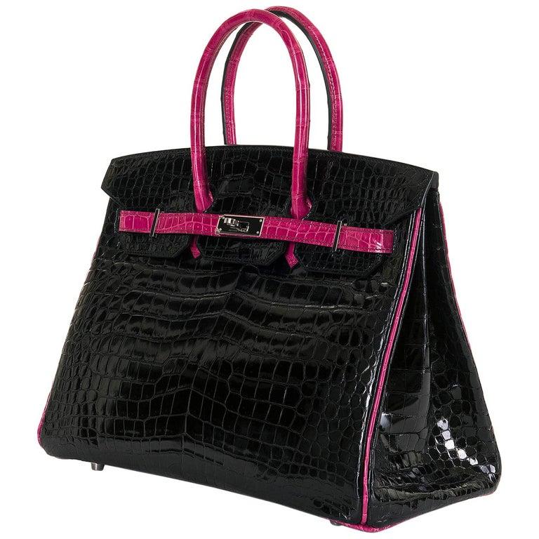 Hermes Limited Edition 35cm Shiny Black Crocodile Birkin Bag For Sale
