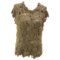 Brunello Cucinelli Linen Blend Open Knit Top with Flashes of Sequins M