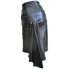 1990s Claude Montana Leather Drape Back Skirt
