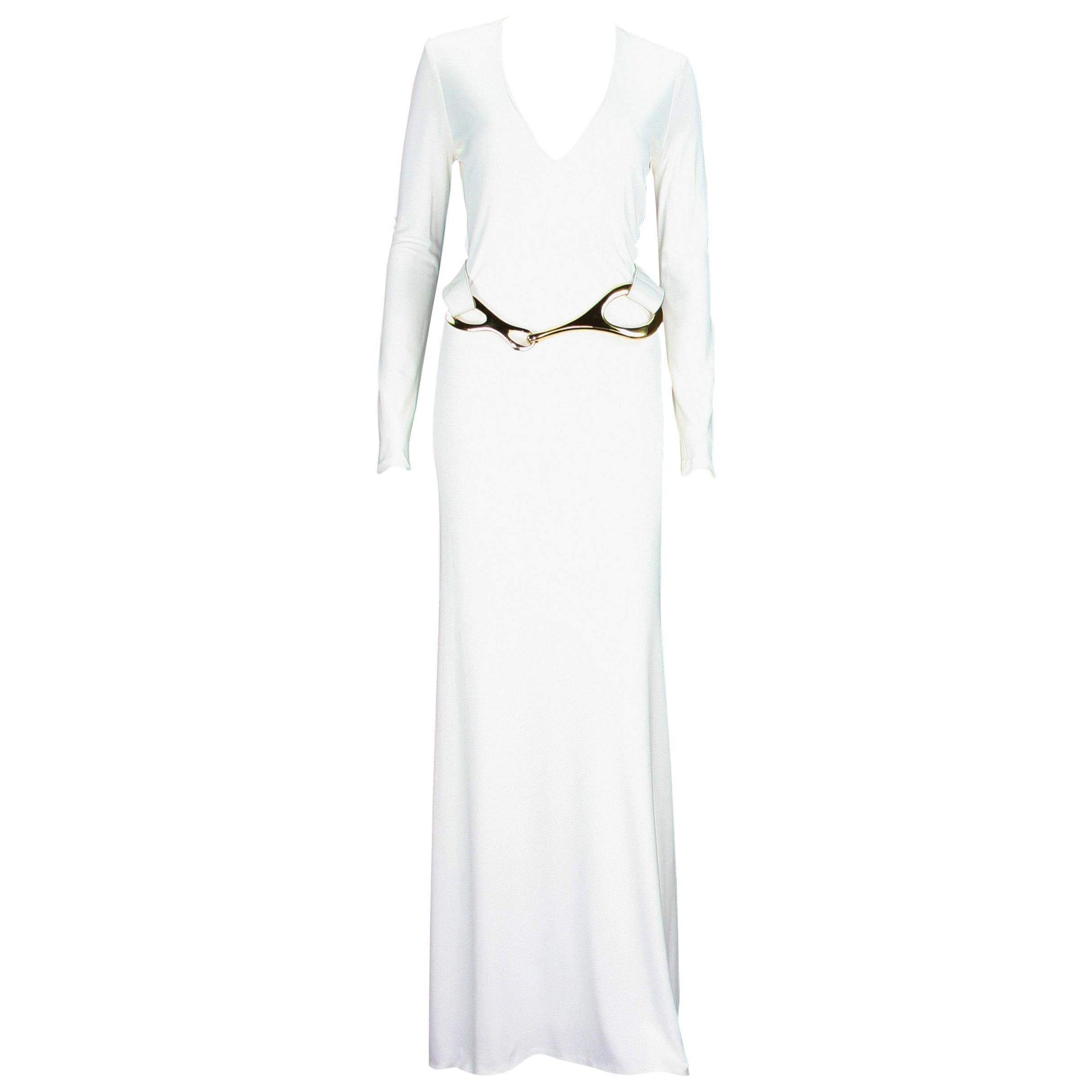 Museum Tom Ford for Gucci F/W 1996 Collection White Jersey Belted Dress Gown 38