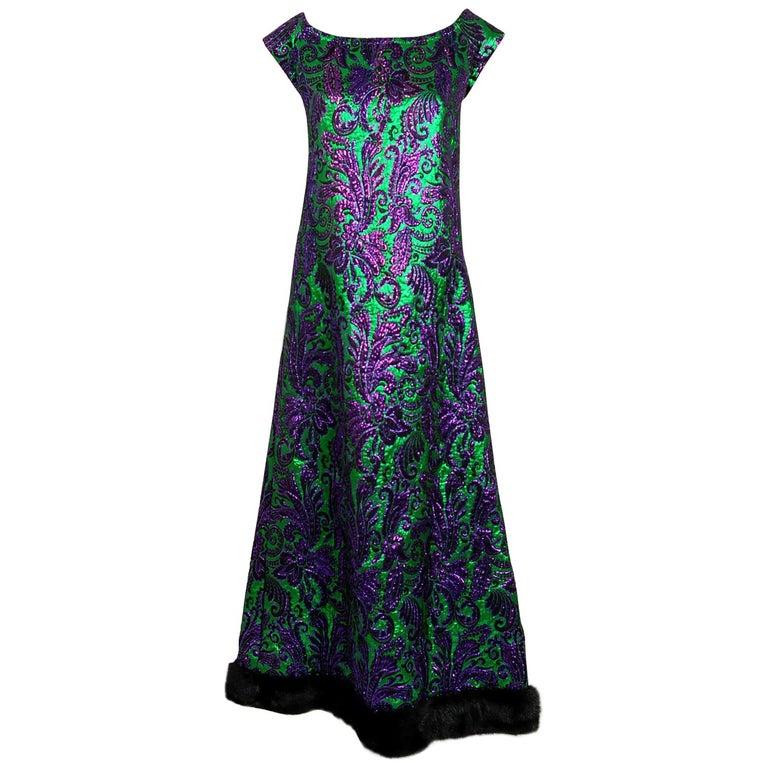 1968 Oscar de la Renta for Jane Derby Green Purple Silk Brocade Mink Fur Gown