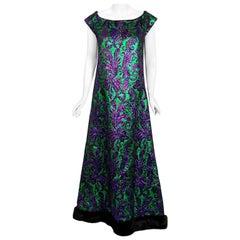 Vintage 1968 Oscar de la Renta for Jane Derby Green Purple Brocade Mink Fur Gown