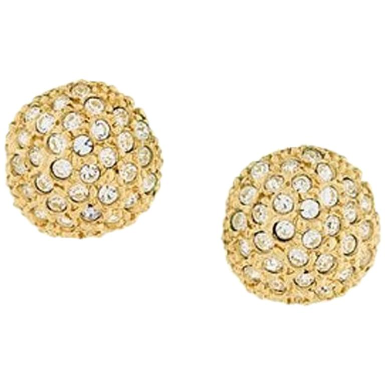 12172d00ceb Yves Saint Laurent Gold Tone and Strass Large Earrings For Sale at 1stdibs