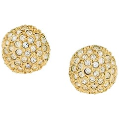 Yves Saint Laurent Gold Tone and Strass Large Earrings