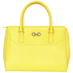 Salvatore Ferragamo Mimosa Yellow Large Gianco Beky Saffiano Leather Tote Bag
