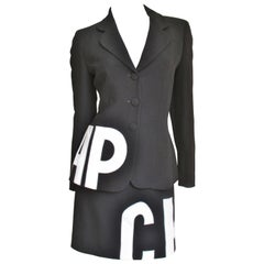 1990s Moschino Letter Applique Skirt Suit