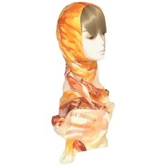 Lalique Tangerine and Ivory Les Jardins Translucent Silk Shawl