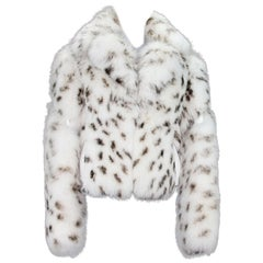New Versace Women's Real Fox Leather Leopard Print White Fur Jacket 46