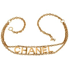 Chanel Belt Gold Link Chain Chanel Name Spelled Out