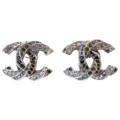 Chanel Black and Crystal Rhinestone CC Earrings