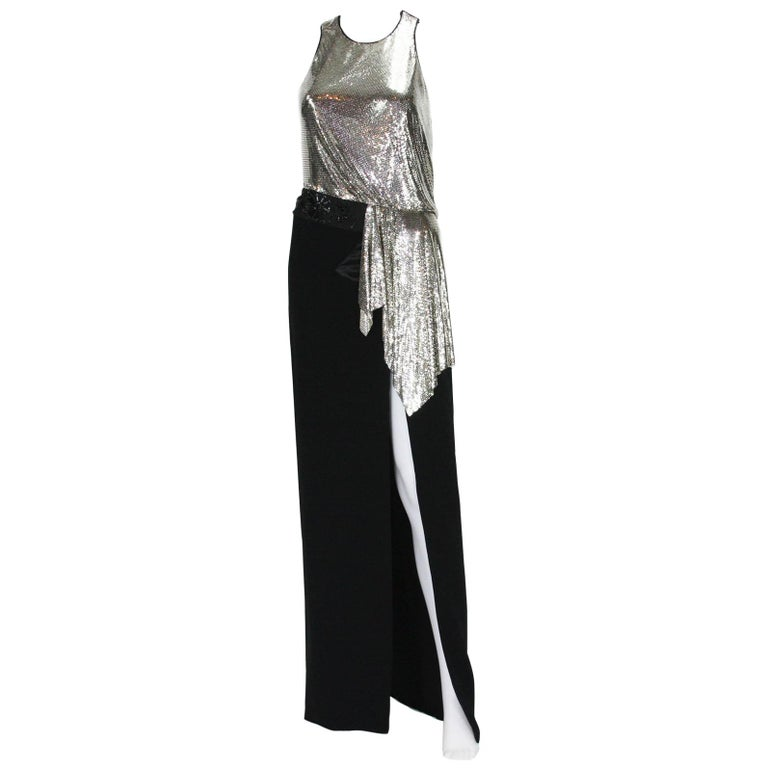 New Versace Silver Metallic Mesh Cut Out Black High Slit Gown  40 For Sale