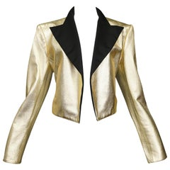 Yves Saint Laurent Vintage Gold Leather Tuxedo Jacket