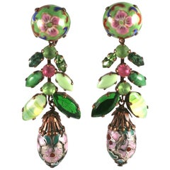 French Chinoiserie Pendant Earclips