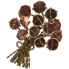 Line Vautrin Mirror Mosaic Flower Bouquet Brooch