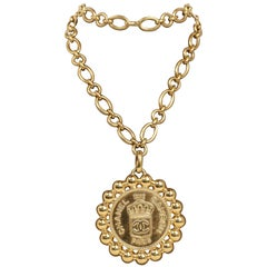 1990s Chanel Gold Royal Seal Medallion Chain Necklace