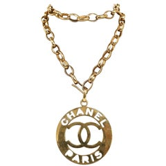 1990s Chanel Gold CC Medallion Necklace