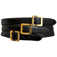 Henri Bendel Italian black leather belt with three buckles