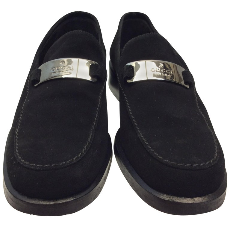 Gucci Black Suede Loafers With Silver Hardware For Sale At 1stdibs