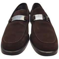 Gucci Brown Suede Loafers with Silver Hardware