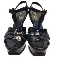 Yves Saint Laurent Black Patent Leather Tribute Heels