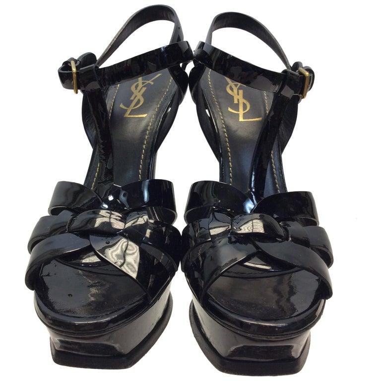 915a99f7bd5 Yves Saint Laurent Black Patent Leather Tribute Heels