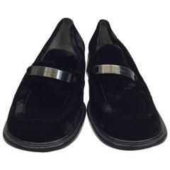 Prada Black Velvet Loafers with Silver Hardware