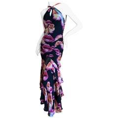 Dior by John Galliano Surrealist Lip Print Silk Chiffon Bias Cut Ruffle Dress