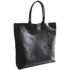 John Varvatos Star USA Its Only Rock And Roll Black Leather Tote Bag Carry All