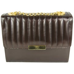 1990s Brown Leather Ribbed Escada Kelly Hand Bag Never Worn